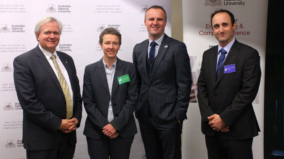 Professor Brian Schmidt, Professor Elanor Huntington, Chief Minister Andrew Barr and Dr Jonathan Couldrick at the launch of Sol Invictus