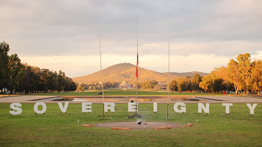 Sovereignty sign at the Aboriginal Tent Embassy, Canberra. Image courtesy Fee Plumley on flickr.