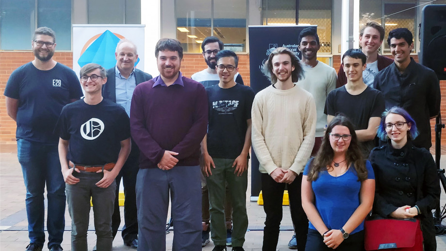 Professor Michael Cardew-Hall with members and supporters of Square One at the launch of the space.