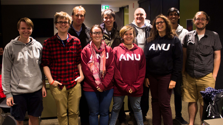 The ANU Planet 9 search team with BBC Stargazing Live hosts Professor Brian Cox and comedian Dara O'Briain at the ANU Siding Spring Observatory.