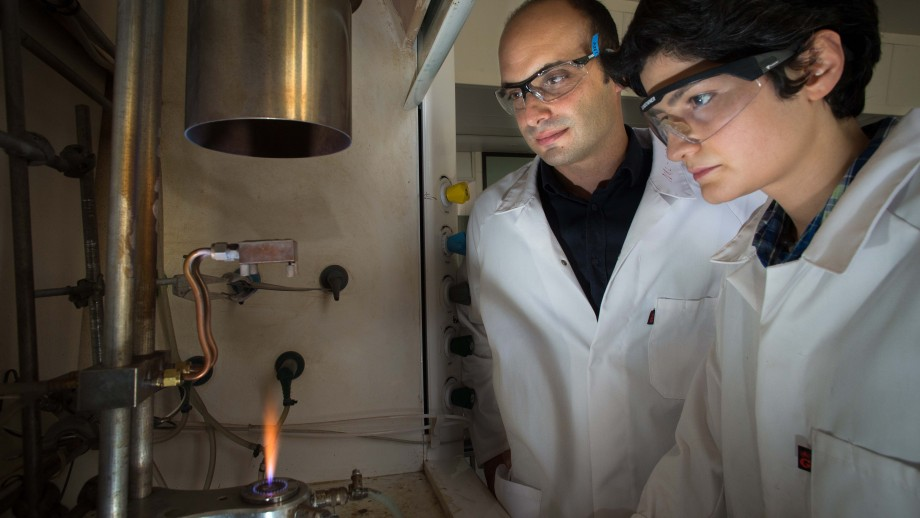 Dr Antonio Tricoli (left) in his lab with Noushin Nasiri. Photo by Stuart Hay, ANU.