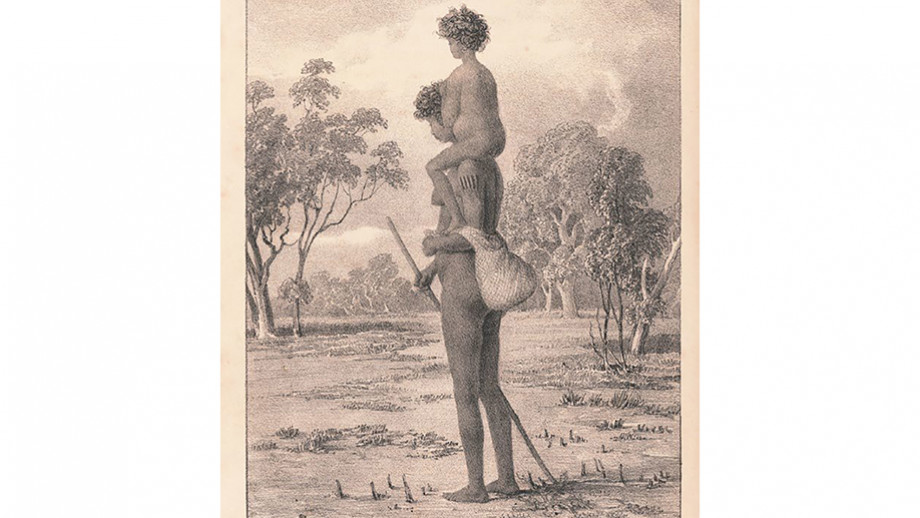 Turandurey carrying her daughter, Ballandella. Image: State Library of NSW