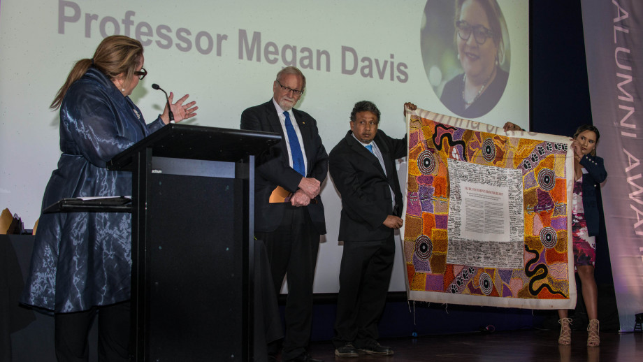 During the 2018 Alumni Awards, Indigenous Alumna of the Year Professor Megan Davis presented the Uluru Statement of the Heart, which was on display for people to see. Photo by Ricky Lloyd.