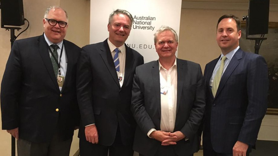 (L to R): WTO Ambassador Hamish McCormick, Minister for Finance the Hon Mathias Cormann, Professor Schmidt and Minister for Trade the Hon Steven Ciobo.