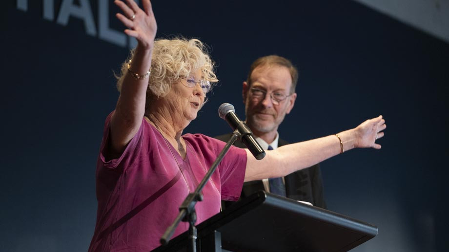 Co-hosts of the VC's Awards night, Gail Frank and Professor Michael Martin. Photo by Lannon Harley, ANU.