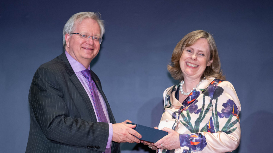 Professor Brian Schmidt with Associate Professor Fiona Jenkins. Photo by Lannon Harley, ANU.