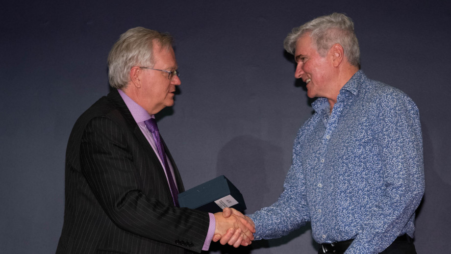 Professor Brian Schmidt with Professor Mark Howden. Photo by Lannon Harley, ANU.