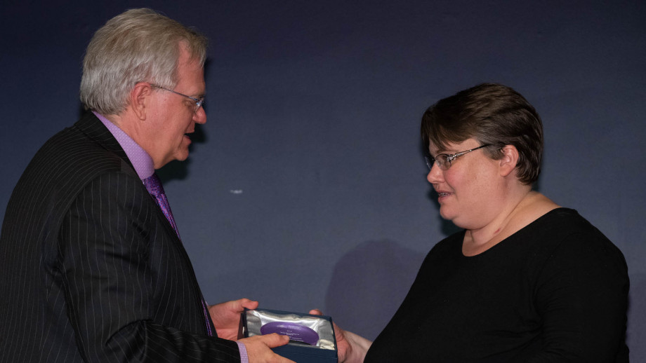 Professor Brian Schmidt with Professor Michelle Coote. Photo by Lannon Harley, ANU.