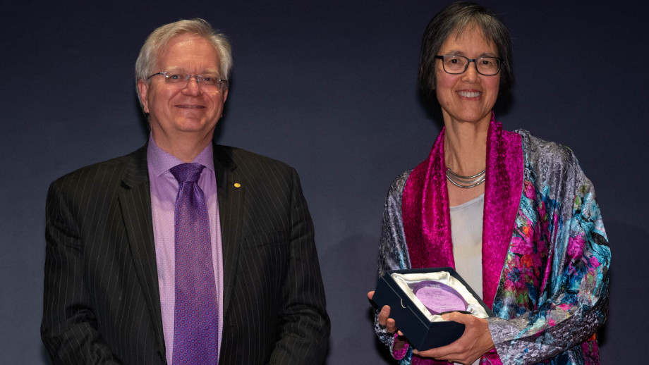 Professor Brian Schmidt with Ms Marian Irvine. Photo by Lannon Harley, ANU.
