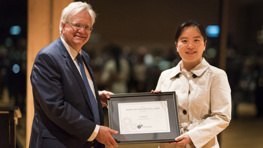 Vice-Chancellor Professor Brian Schmidt and Dr Ding Ding. Photo by Jamie Kidston, ANU.