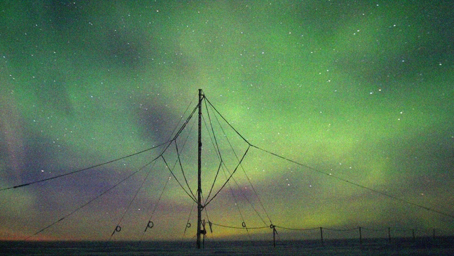 The vey low frequency receiver at the Halley Research Station, Antarctica. Photo: British Antarctic Survey