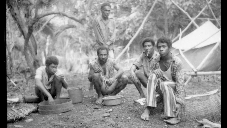 Banks Islanders collaborating in ANU-funded doctoral fieldwork in Vanuatu, including identification of excavated materials. Image: Graeme K Ward