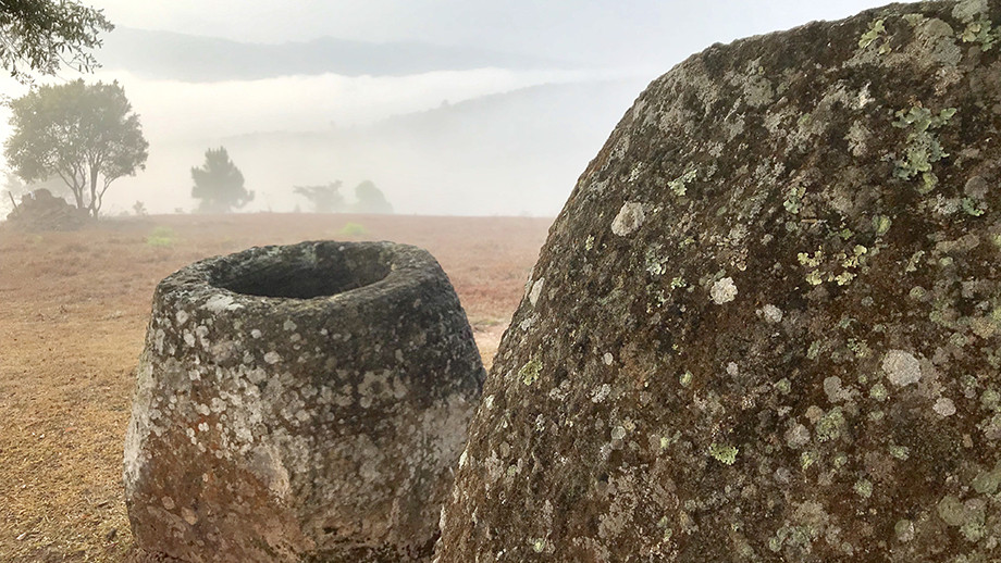 Sandstone megalithic jars in Xiengkhouang Province, Laos. Image: ANU