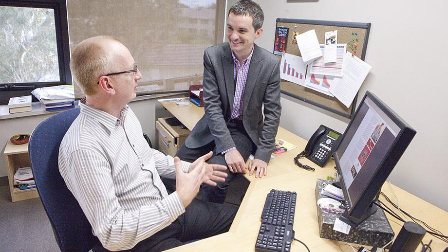 Professor Andrew Walker and Dr Nicholas Farrelly. Image: Darren Boyd, ANU.