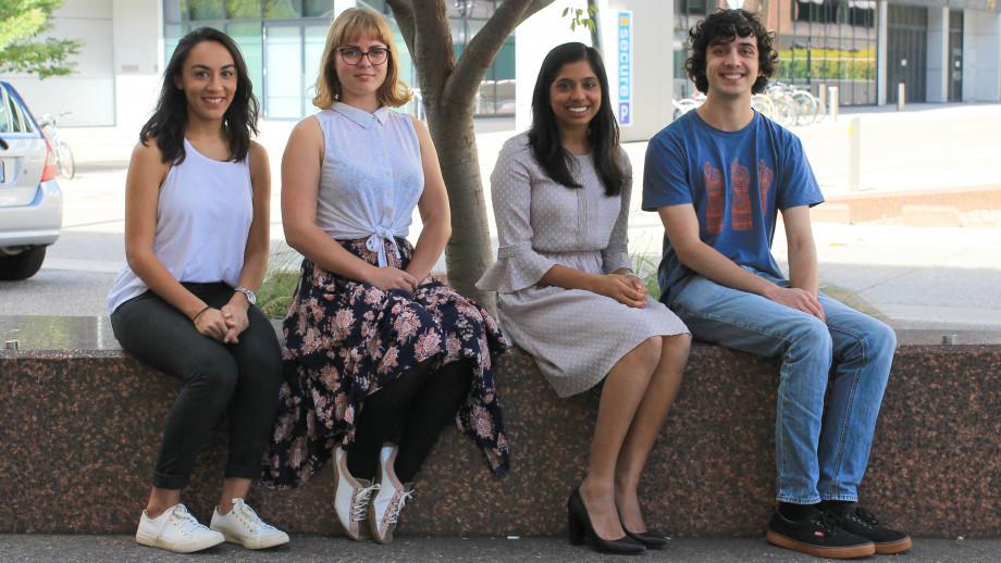 Westpac scholarship recipients Abi Rajkumar, Alina Rizvi, Olivia Pursey and Hanif Patel. Image: Sayan De.