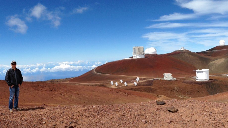 George Zhou at the Hawaiian Mauna Kea observatory. Image Daniel Bayliss.