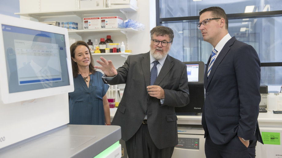 Professor Carola Vinuesa and Professor Simon Foote lead a tour of The John Curtin School of Medical Research with Senator Zed Seselja on Wednesday morning. The tour was part of the announcement of $10 million for the Phenomics Translational Initiative.