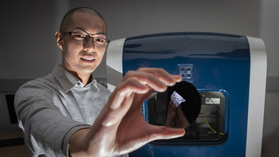 Dr Sherman Wong, who worked on the study of the new type of silicon for his PhD at ANU. Image credit: ANU