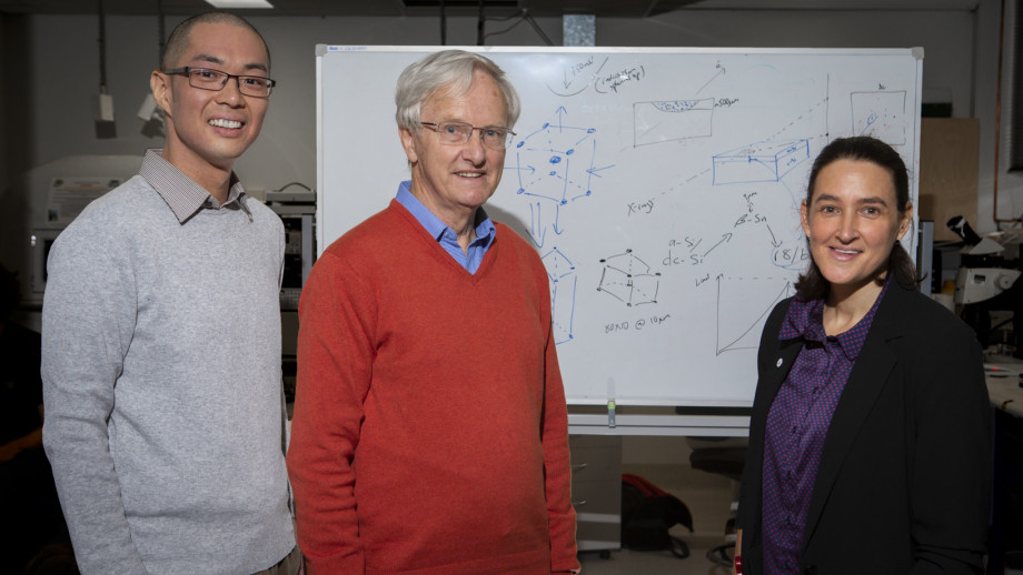 Dr Sherman Wong with co-researchers Emeritus Professor Jim Williams and Professor Jodie Bradby. Image credit: ANU