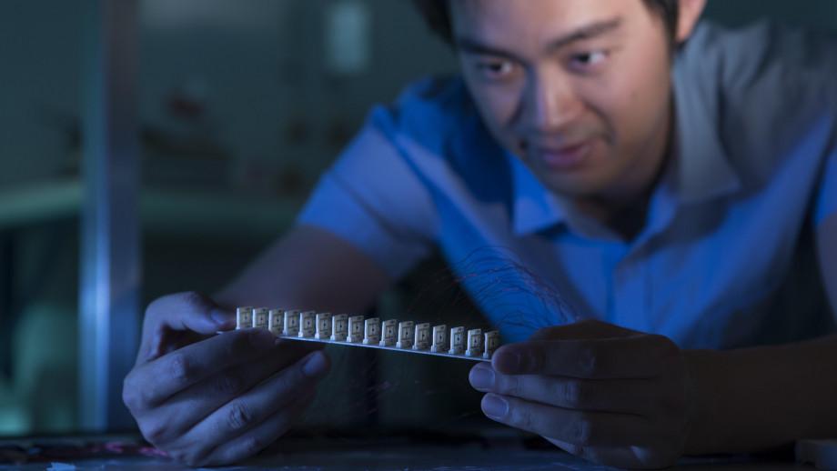 Dr Mingkai Liu with the prototype device. Image credit: ANU