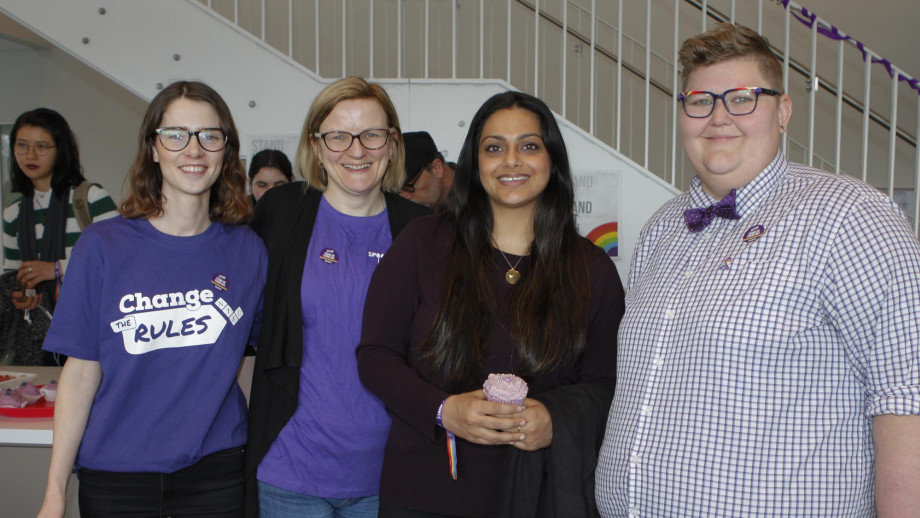 Members of the ANU community celebrating Wear it Purple Day.