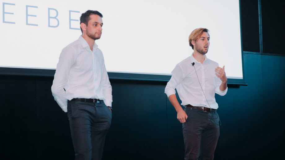 Gleeson and Seeber pitching at InnovationACT 2019: Pitch Night
