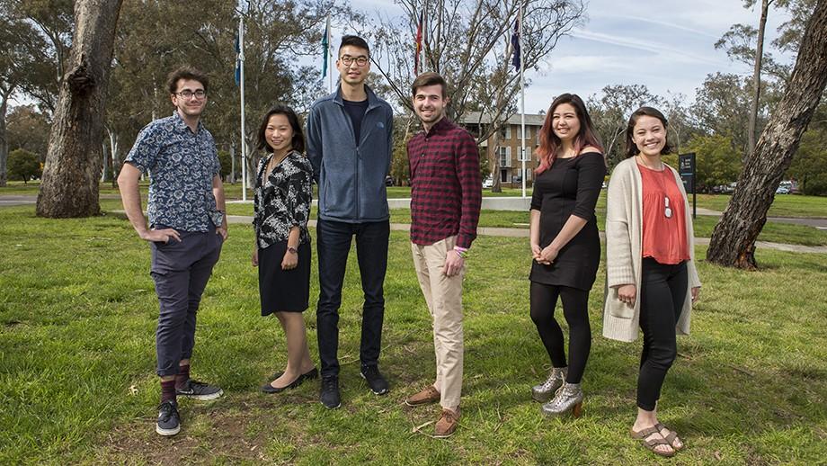 2017 ANUSA Executive - Cameron Allan, Jessy Wu, Harry Feng, James Connolly, Kat Reed and Eleanor Kay. Image: Stuart Hay, ANU.