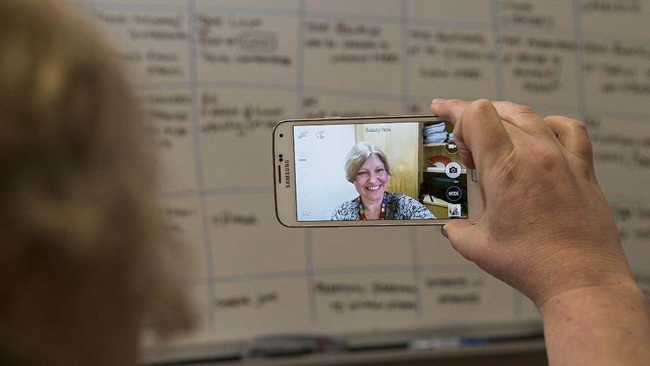 Dr Toni Eagar takes a selfie. Image: Stuart Hay, ANU.