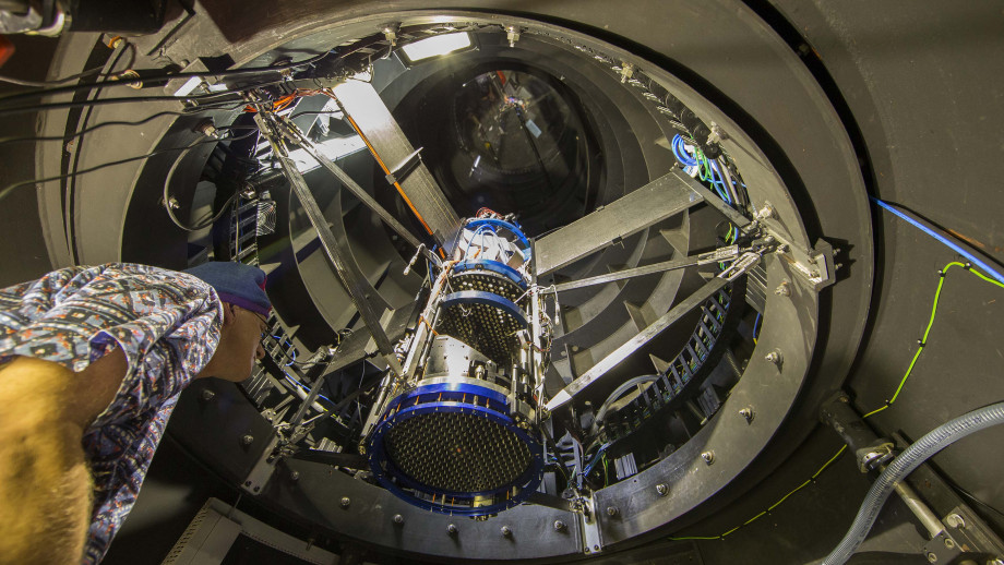 Inside the UK Schmidt telescope tube showing the TAIPAN Starbugs positioner located within. Image: Stuart Hay, ANU.