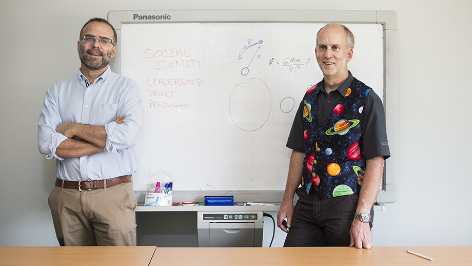 Professor Michael Platow and Professor Paul Francis. Image: Stuart Hay, ANU.
