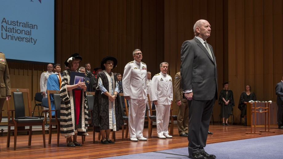 His Excellency General Sir Peter Cosgrove, Governor-General; Vice Chief of the Defence Force, stands at the front of the Official Party for the Australian Command and Staff College Graduation ceremony.
