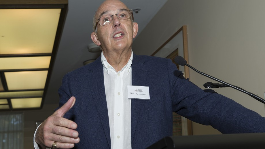 Paul Bongiorno, Contributing Editor for Network Ten, speaks at the Media and Outreach Awards.