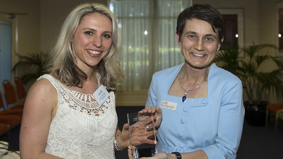 PhD student Katja Theodorakis and Deputy Vice-Chancellor (Academic) Marnie Hughes-Warrington. Photo by Stuart Hay, ANU.