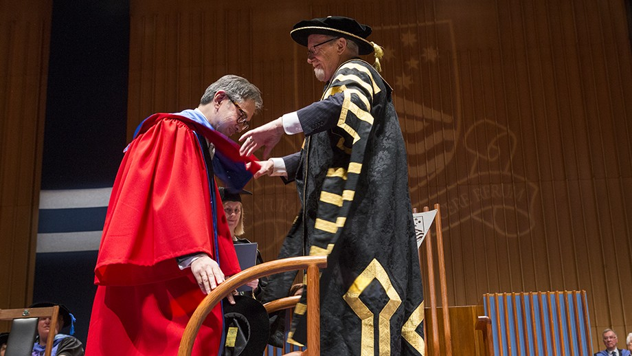 Dr Marty Natalegawa receives his Honorary Doctorate from Chancellor, Professor the Hon Gareth Evans AC QC.