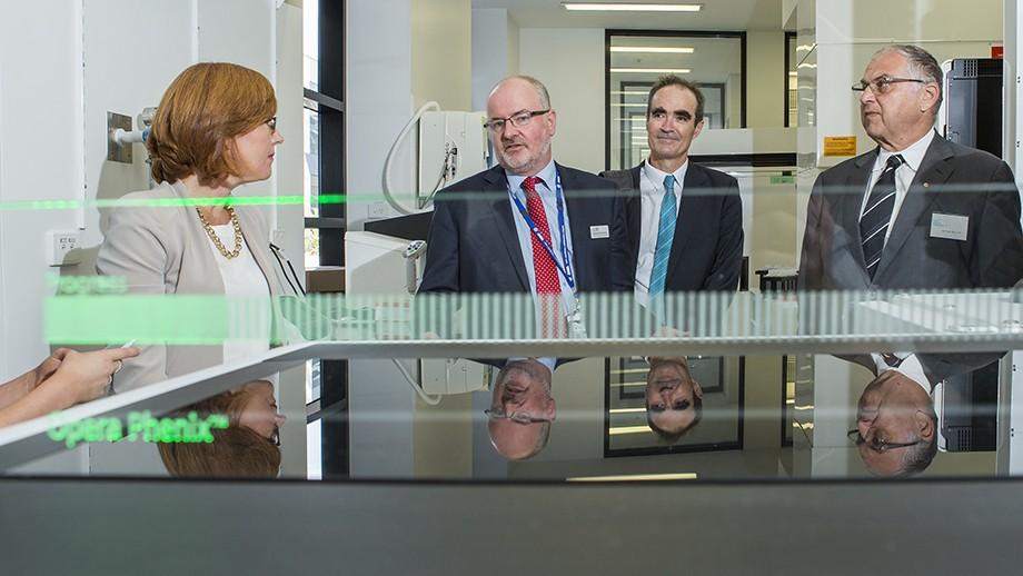 ACT Minister for Health Meegan Fitzharris, ANU Professor Ross Hannan, Professor Kiaran Kirk , ACRF CEO Professor Ian Brown. Image: Stuart Hay, ANU.