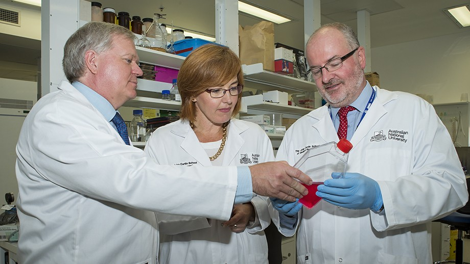 Professor Schmidt, ACT Assistant Health Minister Meegan Fitzharris and Professor Ross Hannan at the launch of the new robotic drug discovery platform. Photo: Stuart Hay, ANU.