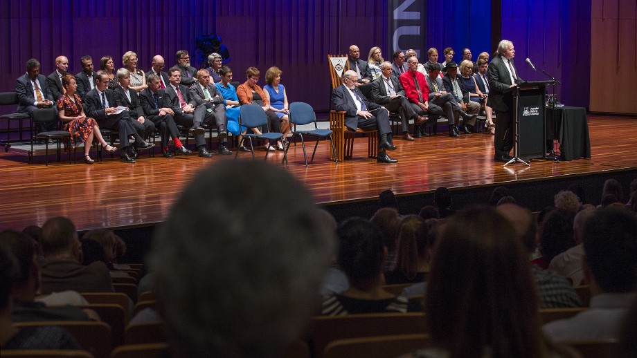 Professor Schmidt unveiling the ANU Strategic Plan 2017-2021 at the State of the University address at LLewellyn Hall on Thursday 9 February 2017. Photo: Stuart Hay, ANU.