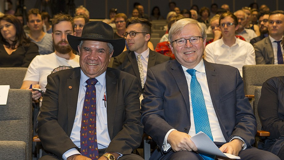 Professor Mick Dodson and former prime minister Kevin Rudd. Photo by Stuart Hay, ANU.