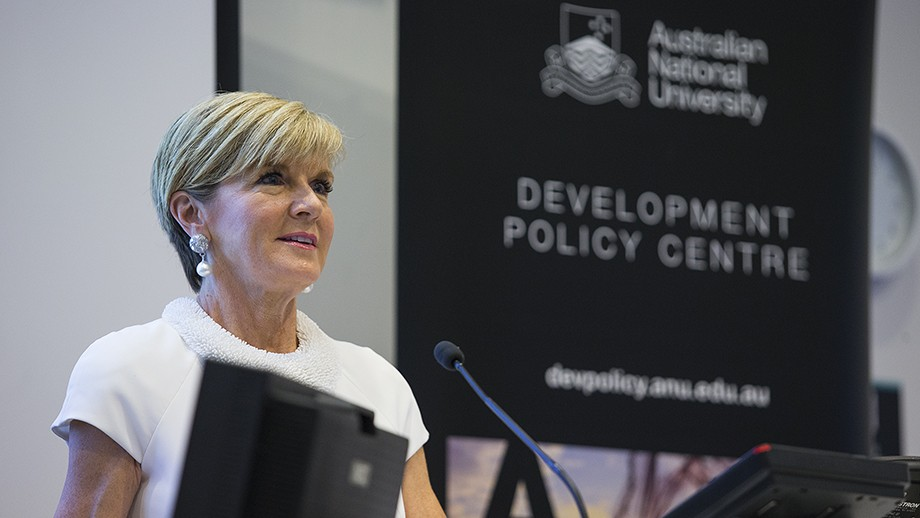 Minister for Foreign Affairs, The Hon Julie Bishop opens the 2017 Australian Aid Conference. Photo by Stuart Hay, ANU.