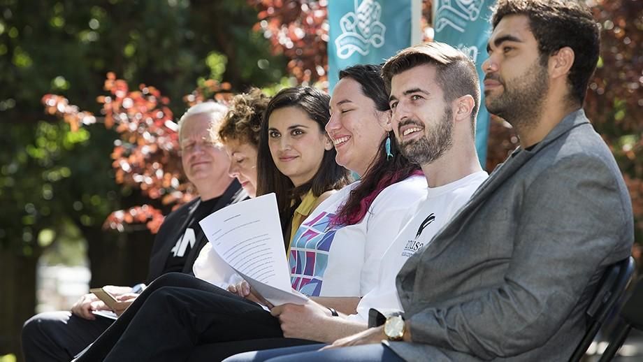 (L to R): Vice-Chancellor Professor Brian Schmidt, Thérèse Rein, Jamila Rizvi, Alyssa Shaw, James Connolly, Rob Williams. Photo by Stuart Hay, ANU.
