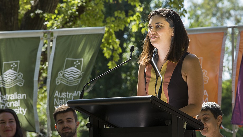 ANU alumna Jamila Rizvi speaks about her time on campus and offers advice to new students to get involved. Photo by Stuart Hay, ANU.