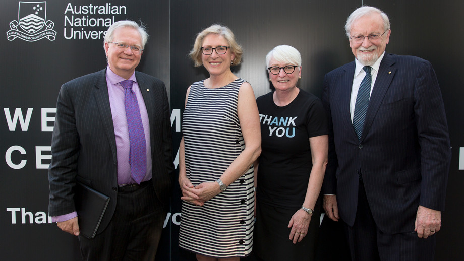 ANU Vice-Chancellor Professor Brian P. Schmidt, Head of School of Art and Design Professor Denise Ferris, Vice-President (Advancement) Ms Barbara Miles and former Chancellor Professor Gareth Evans at the 2019 Celebration of Giving event.