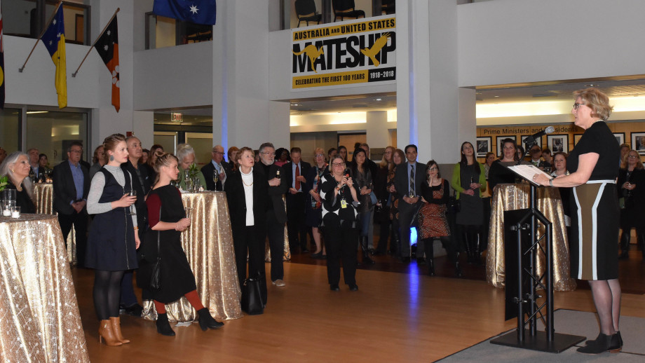 Head of the ANU School of Art & Design, Denise Ferris, speaking to an audience at the Embassy's launch of 'What We Wear'. Image courtesy NALO.