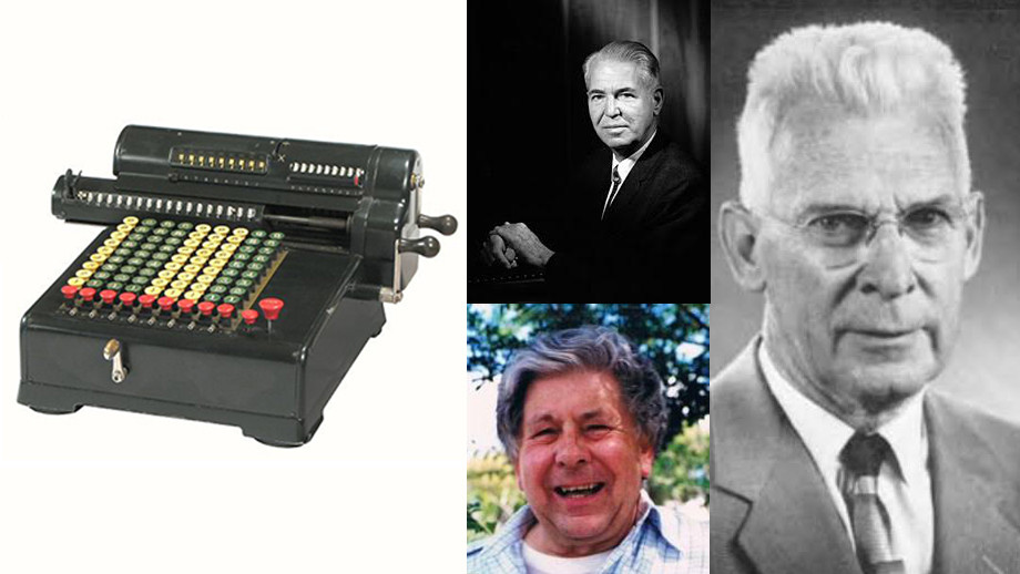 Left: The Marchant Model H9 Calculating Machine; middle top: Nicholas Mayall; middle bottom: Tom Cragg; right: Seth Nicholson.