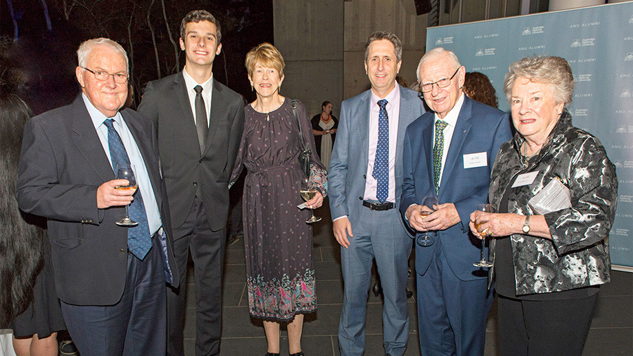 Daryl Dixon, Scholarship recipient Harrison Beer, Katharine Dixon, Max Walsh AM and Geraldine Walsh at the 2018 Alumni Awards Gala.