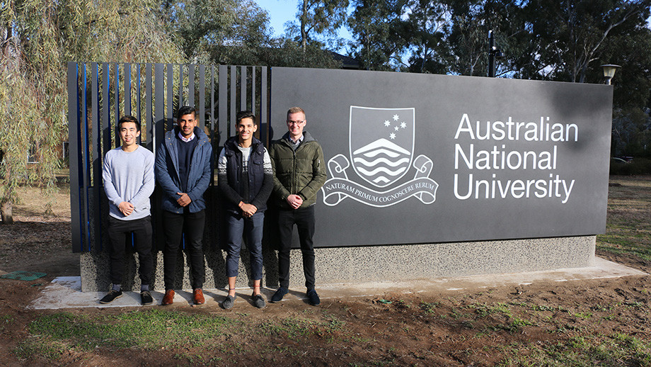 ANU Engineering students Christopher, Chitransh, Nathan and James who produced the prototype leg-box