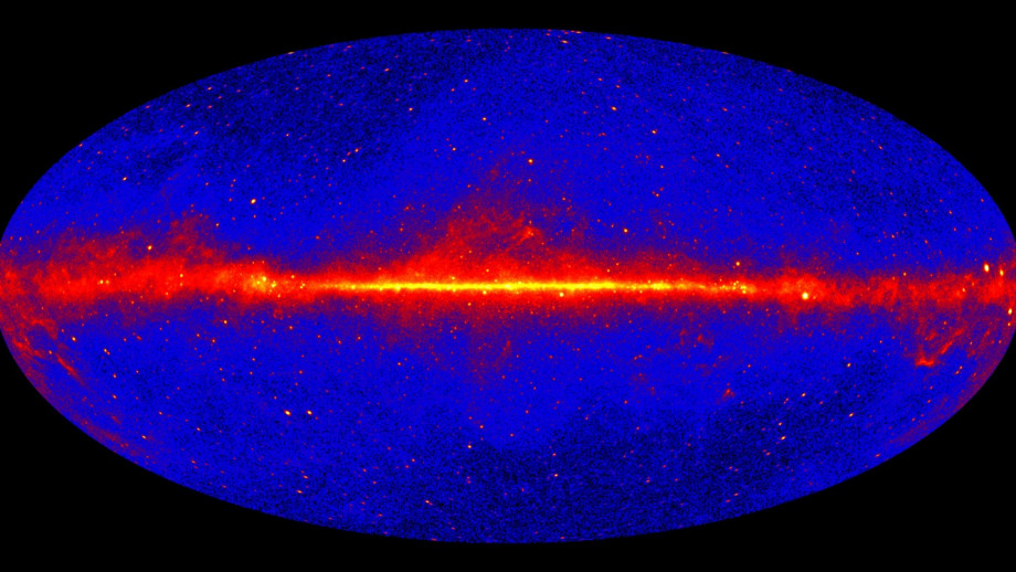 A photo of the gamma-ray sky produced by NASA's Fermi Gamma-ray Space Telescope