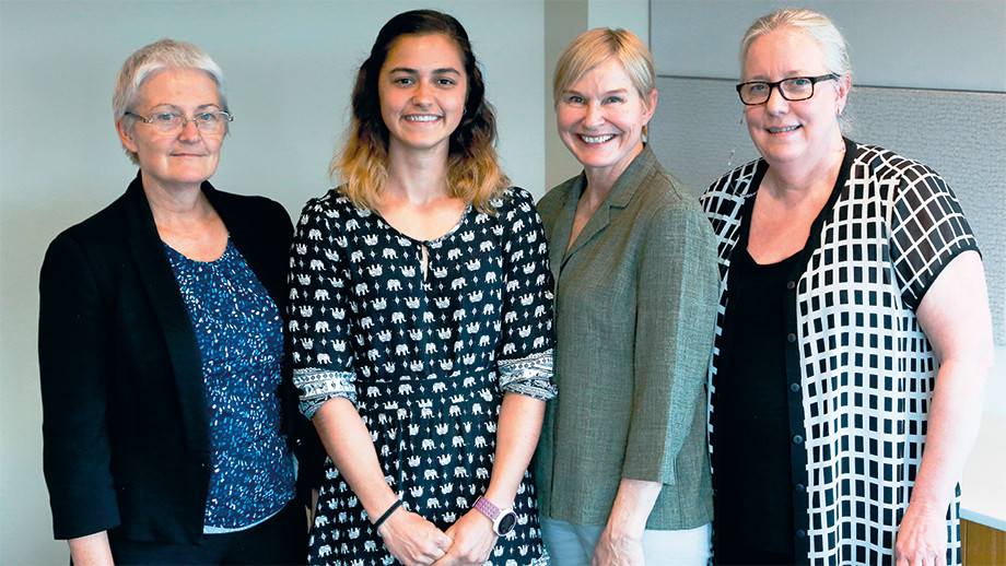 In photo from left to right: Dr Linda Weber, Dr Vida Viliunas, Stephanie Pollard and Dr Prue Martin