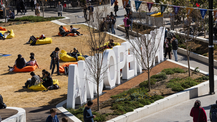 Elevated view of ANU Open Day sign