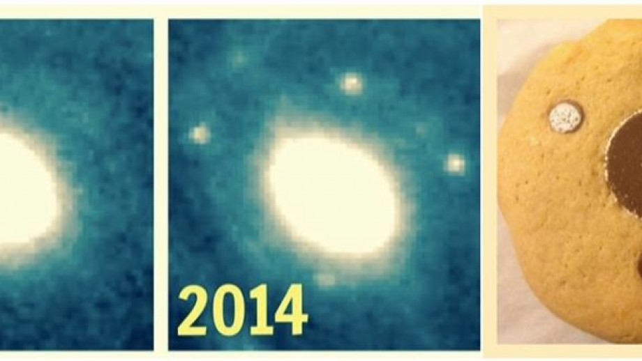 The multiple image phenomena is known as the Einstein Cross. Astronomers thought it really took the biscuit.